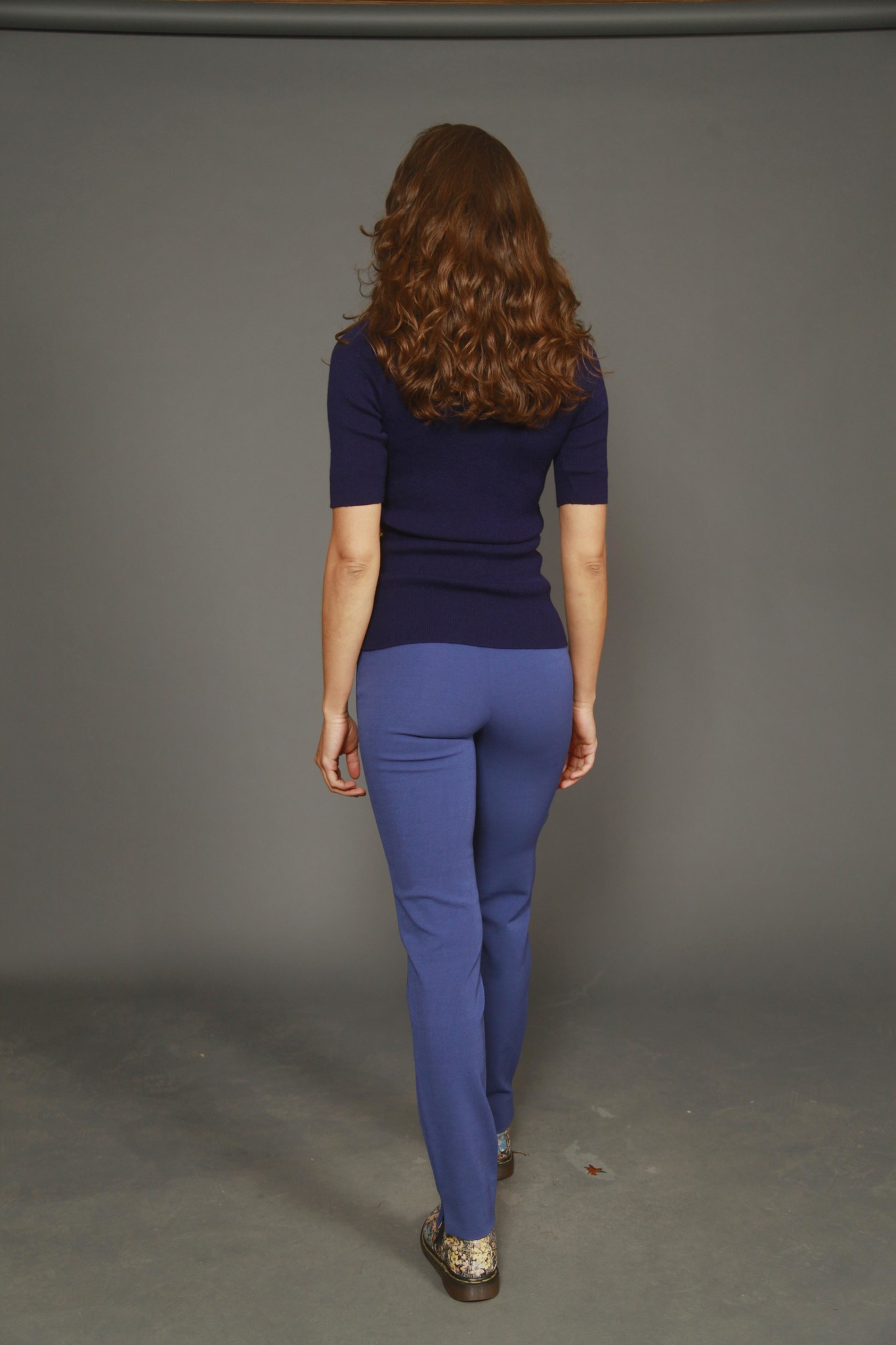 Blue trousers with tapered leg