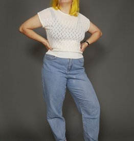 White 80s knitted top