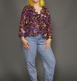 90s purple ruffled blouse
