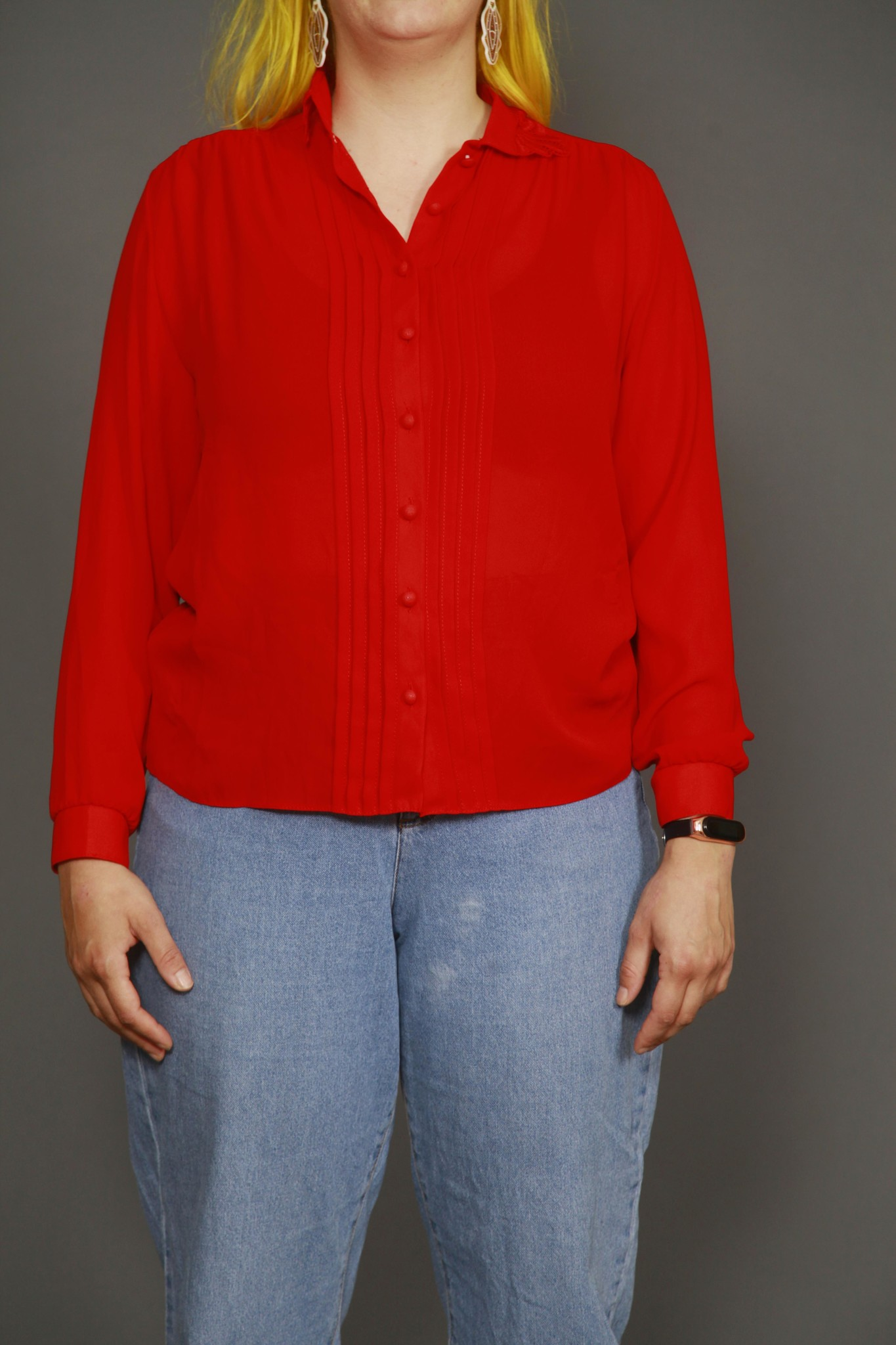 Bright red 80s blouse with pleated front