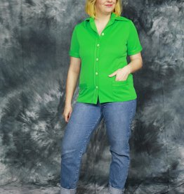 Quirky bright green 70s top