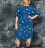Blue 80s peplum dress