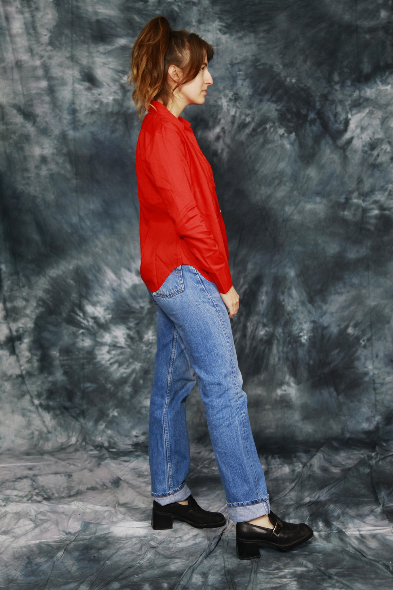 Red 70s blouse