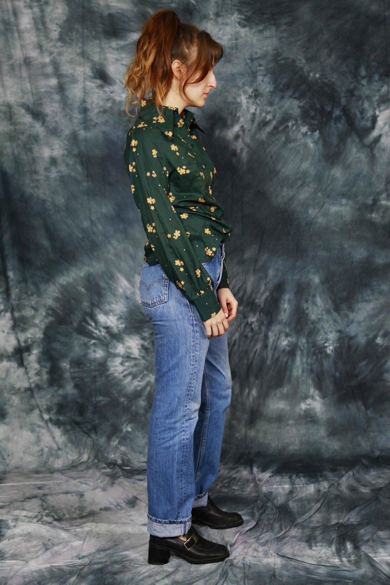Green 70s blouse
