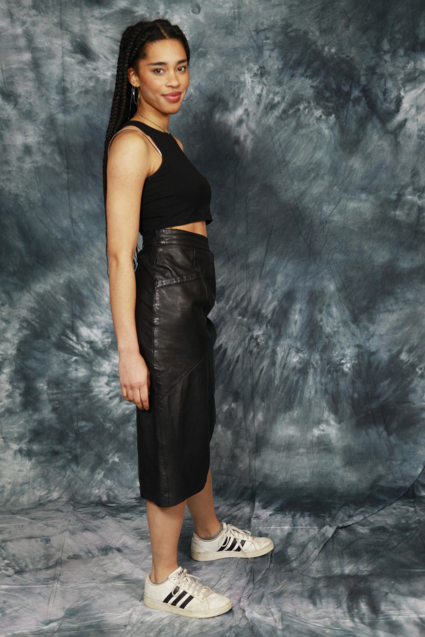 Leather 80s skirt in black