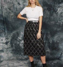 Black 80s midi skirt