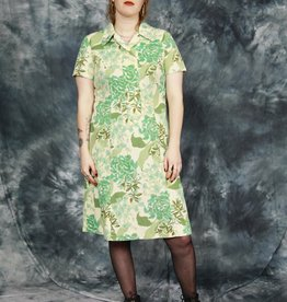 Green floral 70s dress
