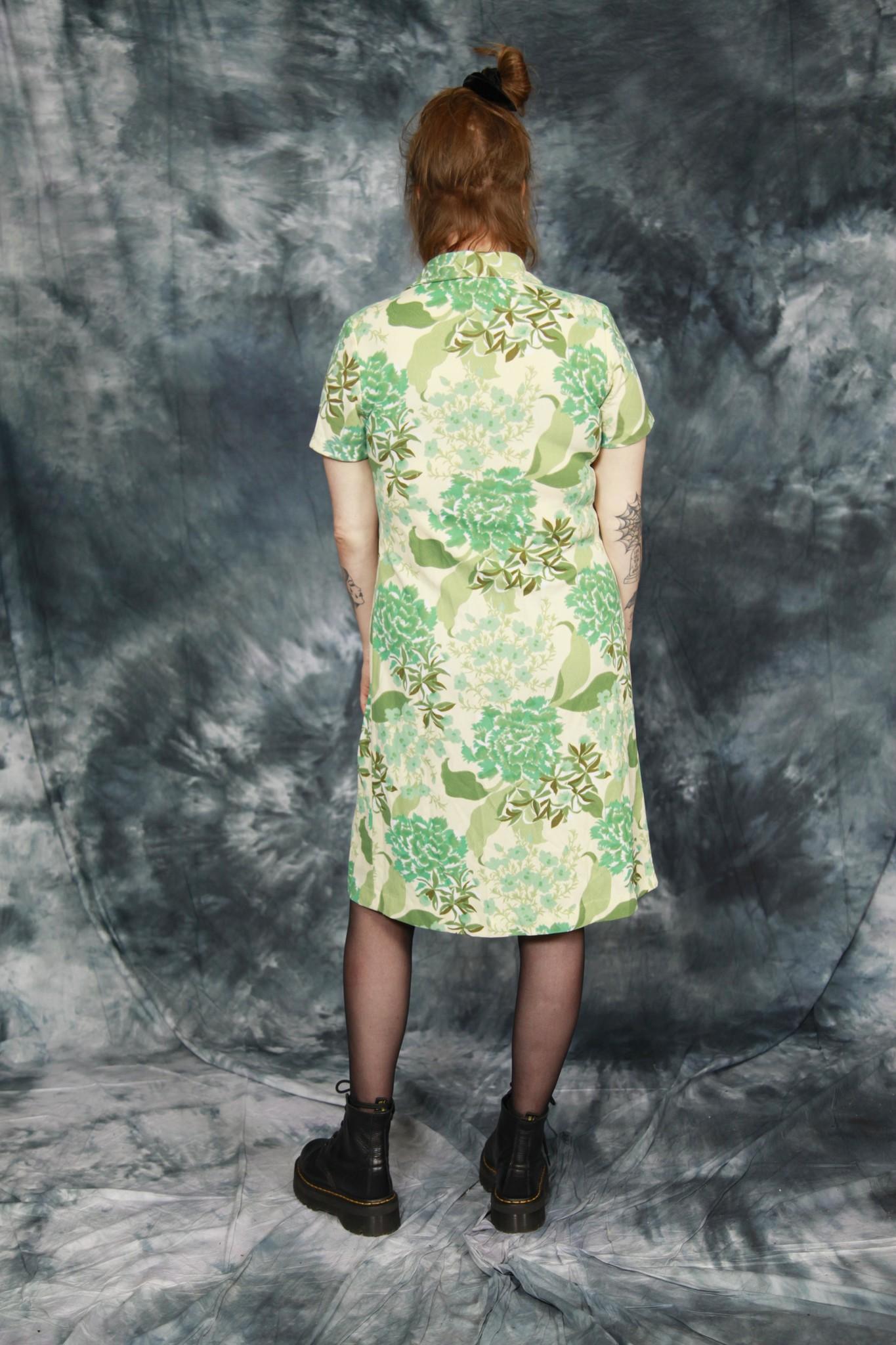 Green floral 70s dress