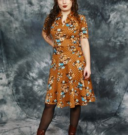 Brown 70s floral dress