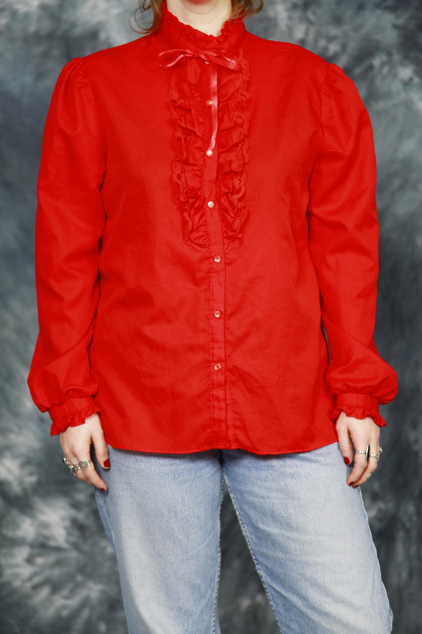 Red 80s blouse