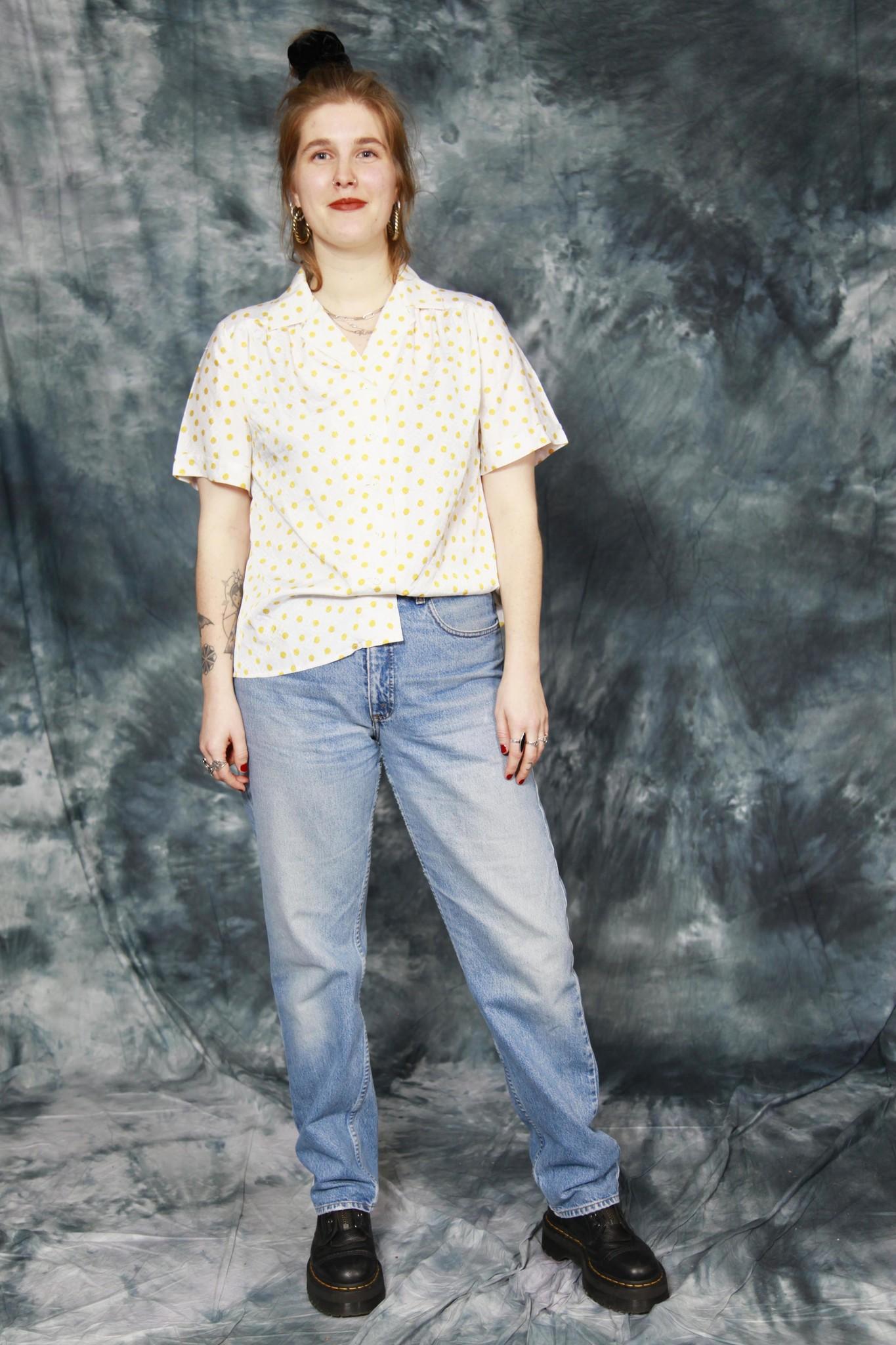 Yellow 80s polka dot blouse