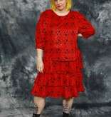 Red 80s dress with all-over print