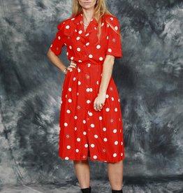 Red 80s polka dot dress