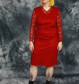 Red 80s dress with all-over lace