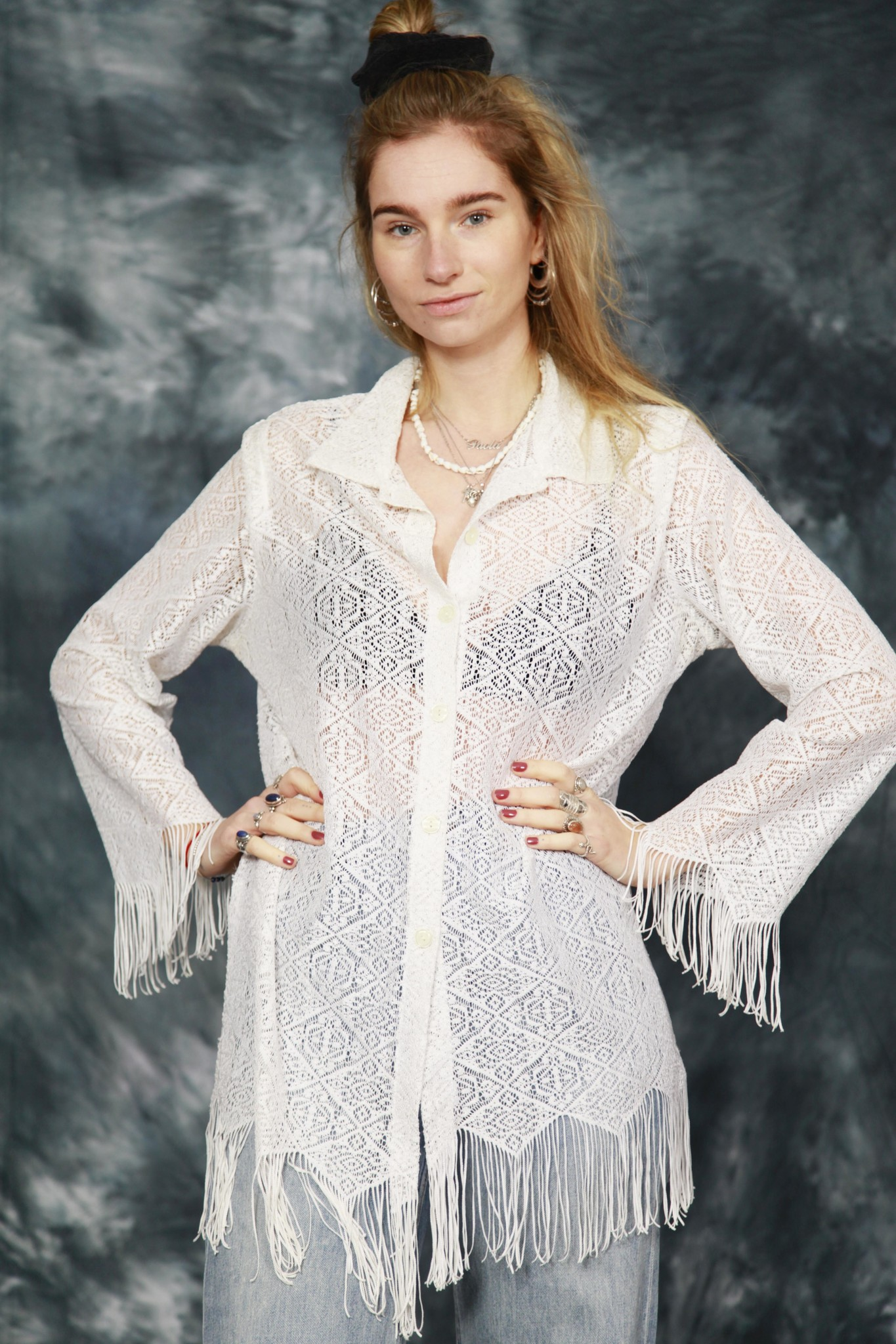 White 80s lace top