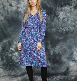 Floral 80s dress in blue