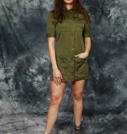 Green 70s mini dress