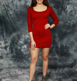 Red 90s bodycon dress