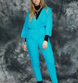 Blue 80s jumpsuit with tapered leg