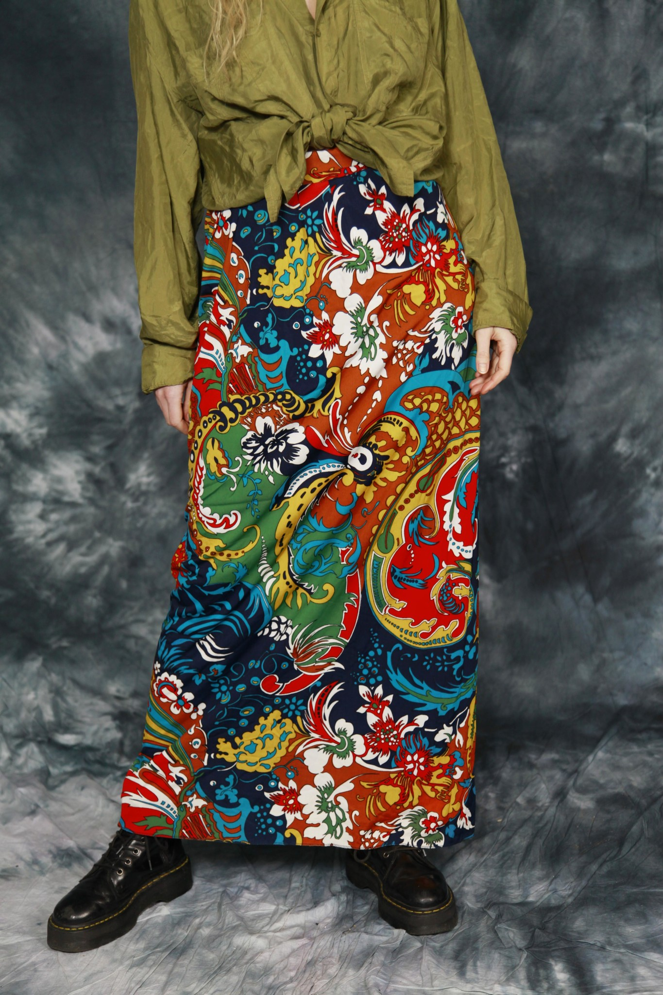 Floral 70s maxi skirt