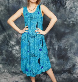Blue 90s dress with all-over print