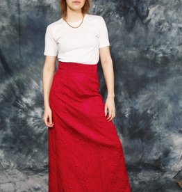 Red 70s maxi skirt