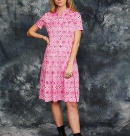 Pink 70s midi dress