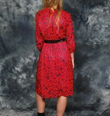 Floral 80s dress in red