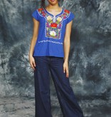 Blue embroidered top