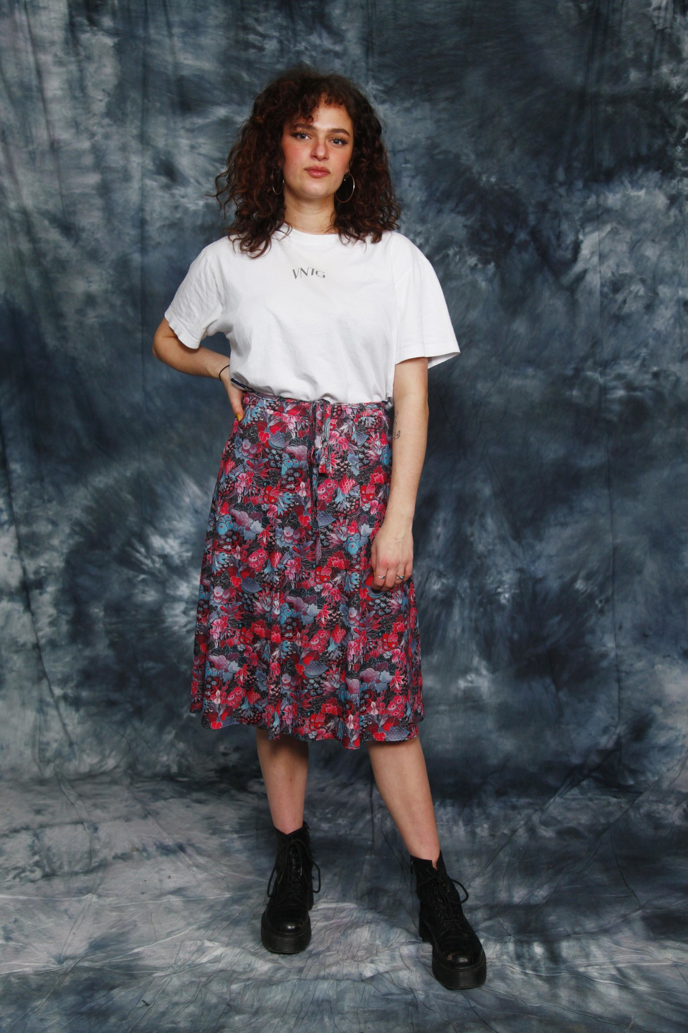 Printed 70s midi skirt