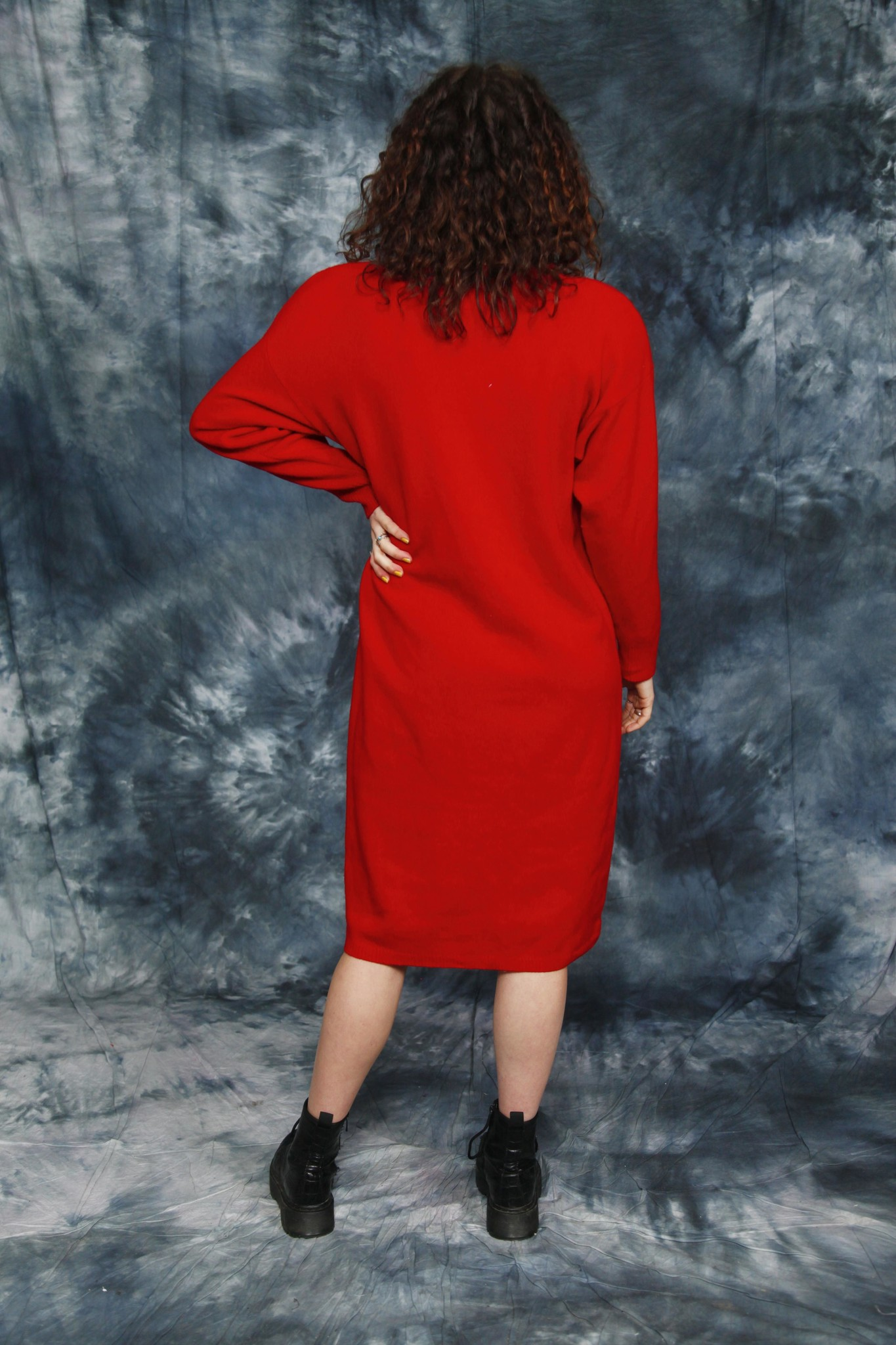Red 80s winter dress