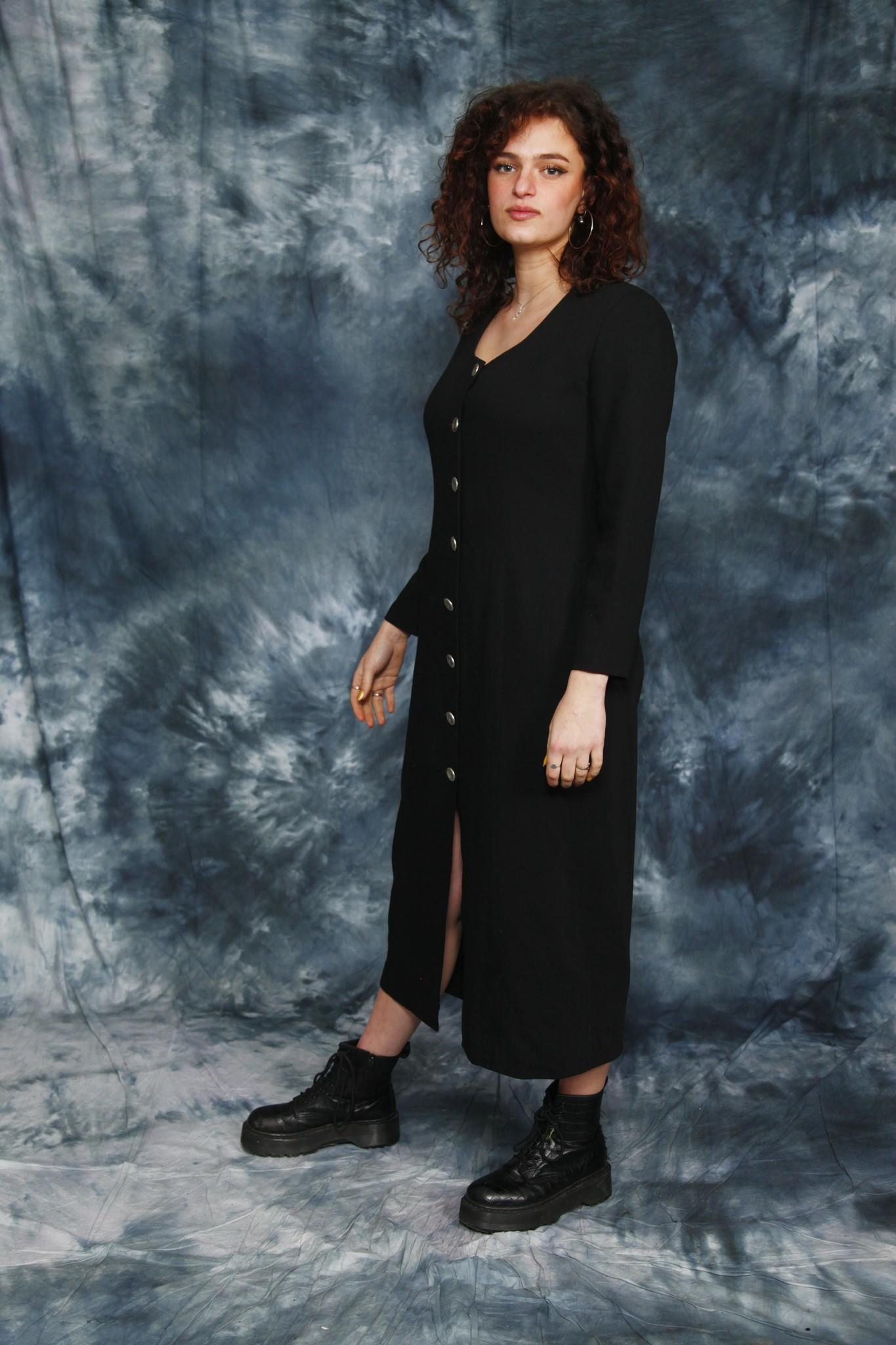 Black 80s winter dress