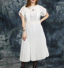 White pleated dress