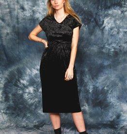 Velvet 80s dress in black
