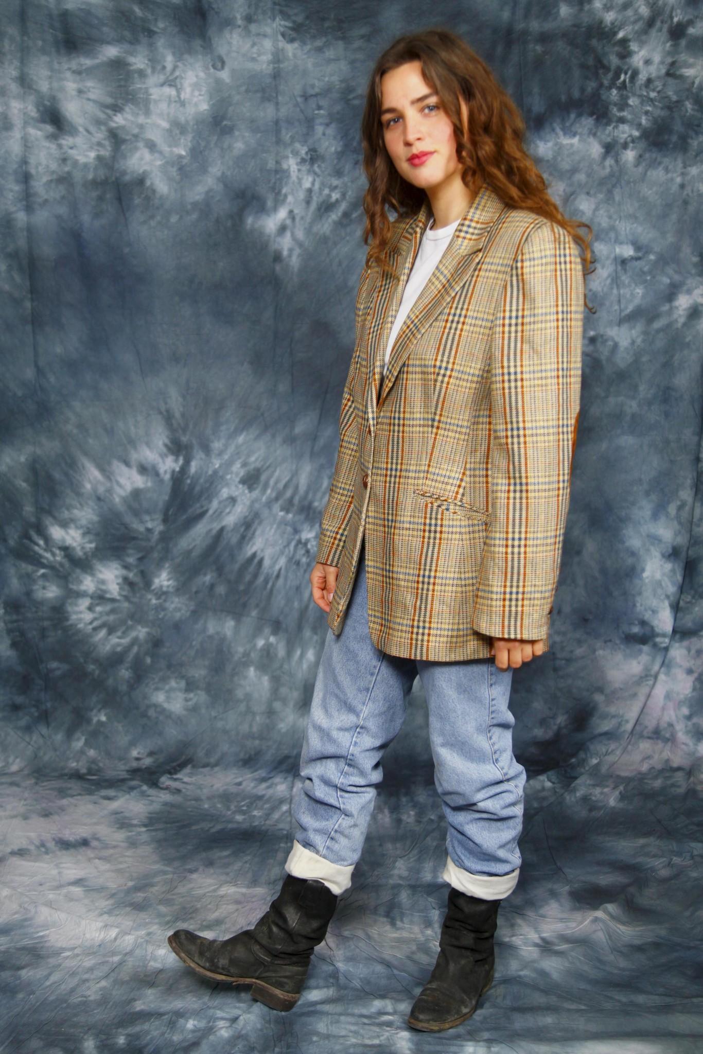 Check print 80s jacket