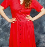 Red button front dress