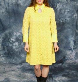 Yellow 70s midi dress