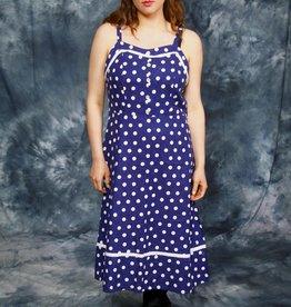Blue 70s polka dot dress
