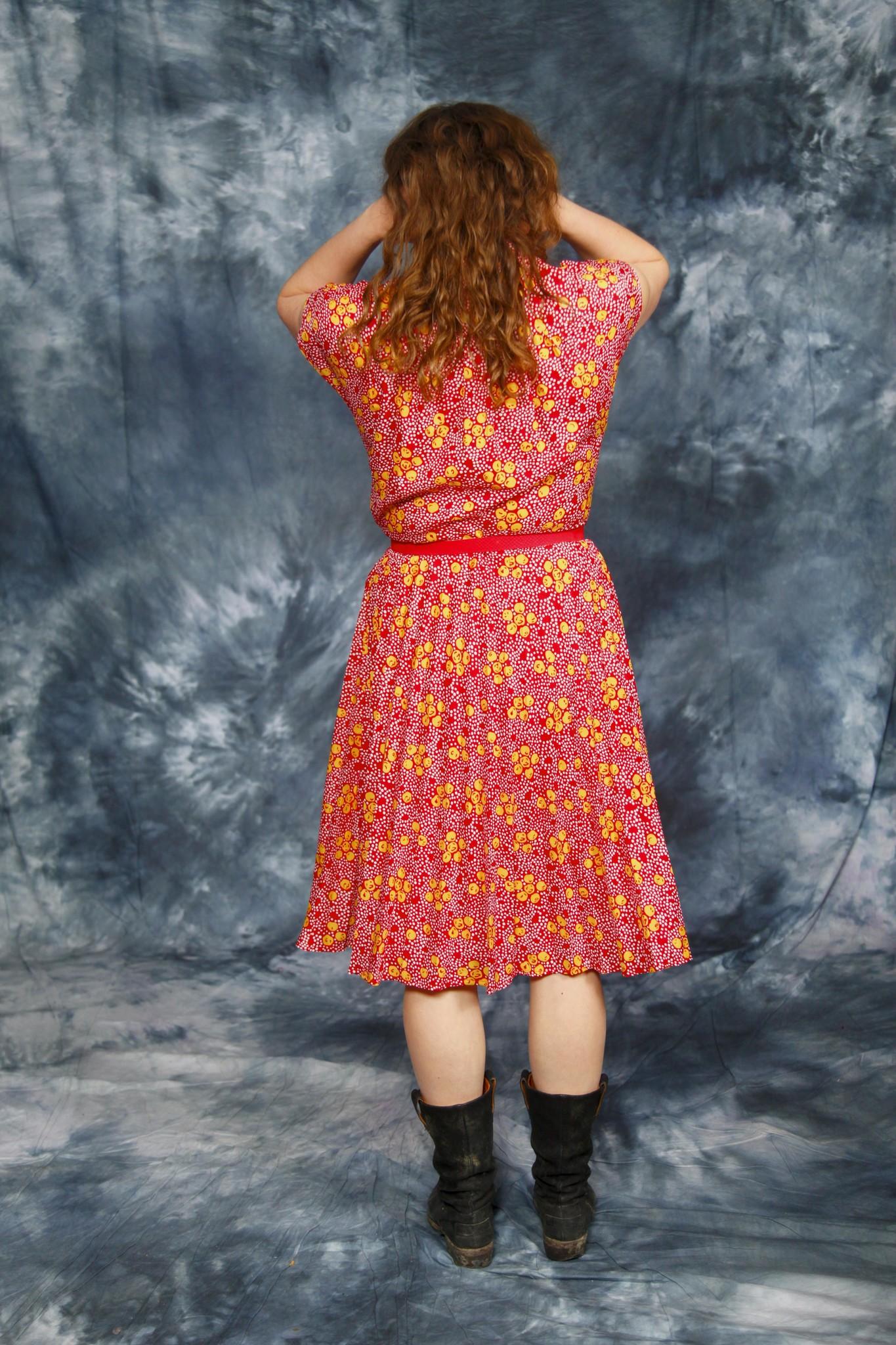 Printed 70s midi dress