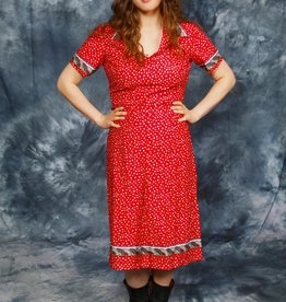 Red printed 70s dress