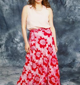 Floral 70s wrap skirt