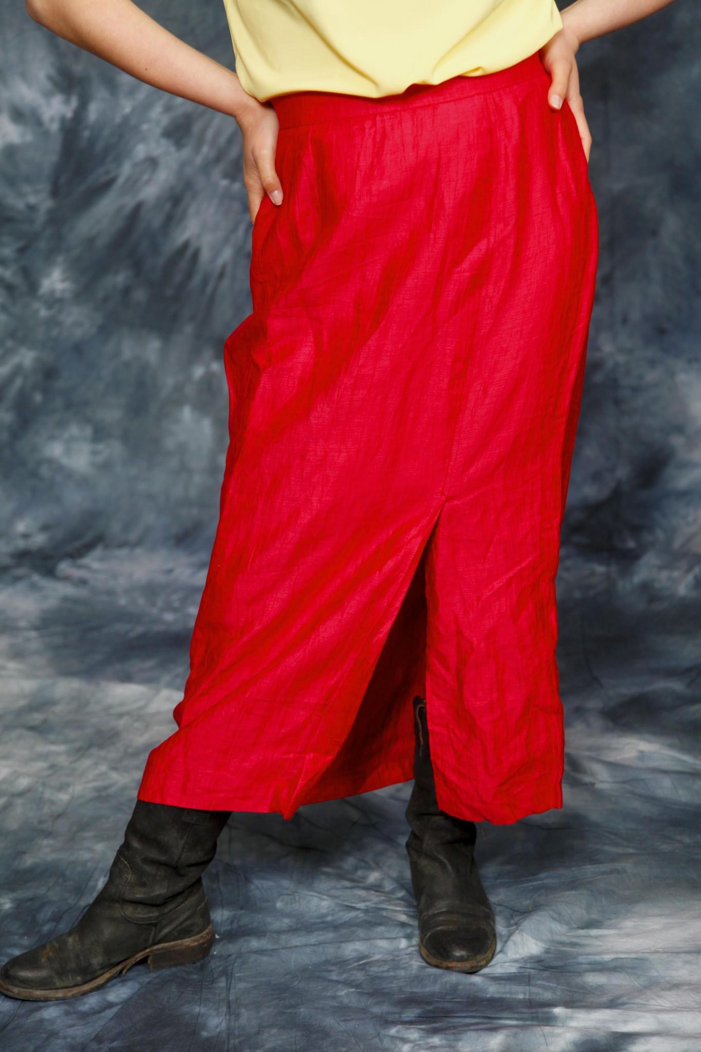 Red 80s midi skirt