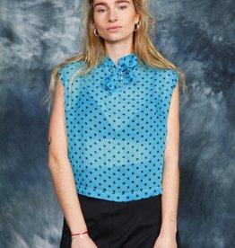 Blue polka dot blouse