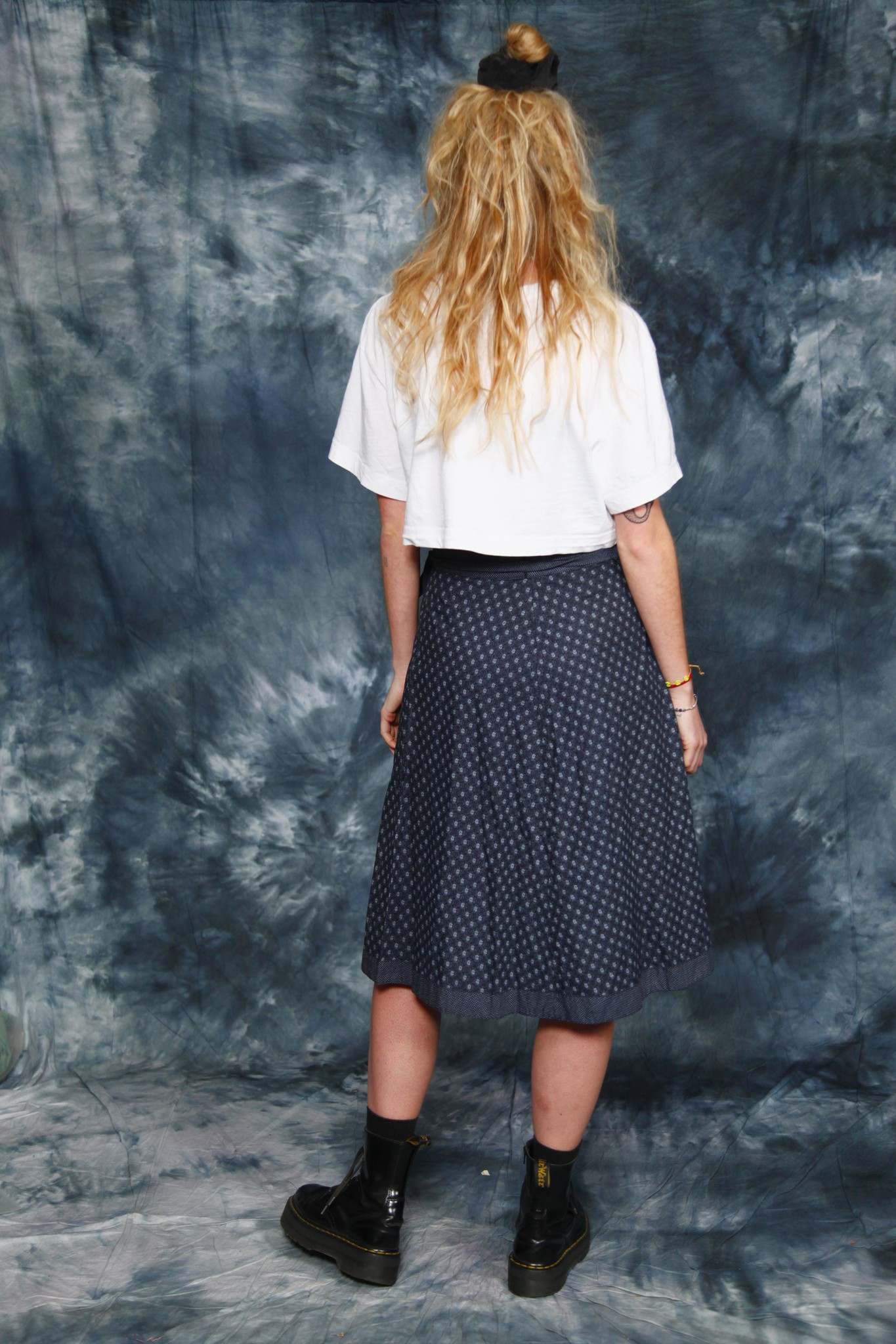 Printed 70s wrap skirt