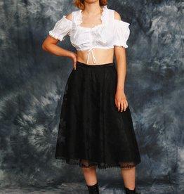 Floral 80s skirt in black