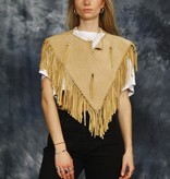 Beige 70s leather cape