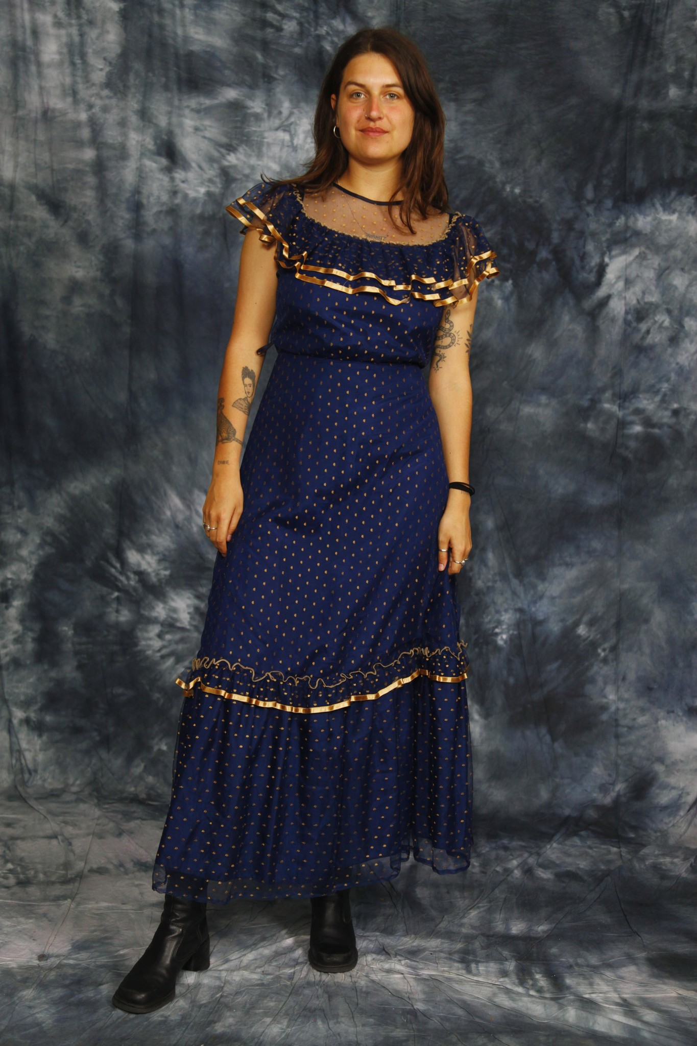 Blue 80s maxi dress