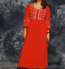 Coral 70s maxi dress
