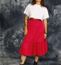 Pink 80s midi skirt