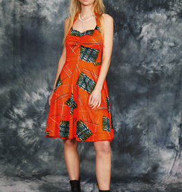 Orange 70s halter dress